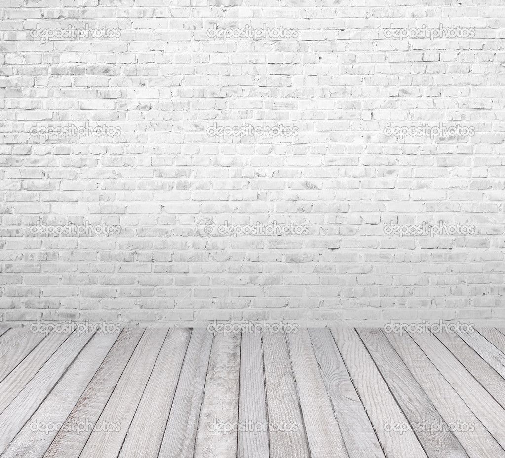 white wood floor background. Interior Room With White Brick Wall And Wooden Floor - Stock Image: 20065571 Wood Background