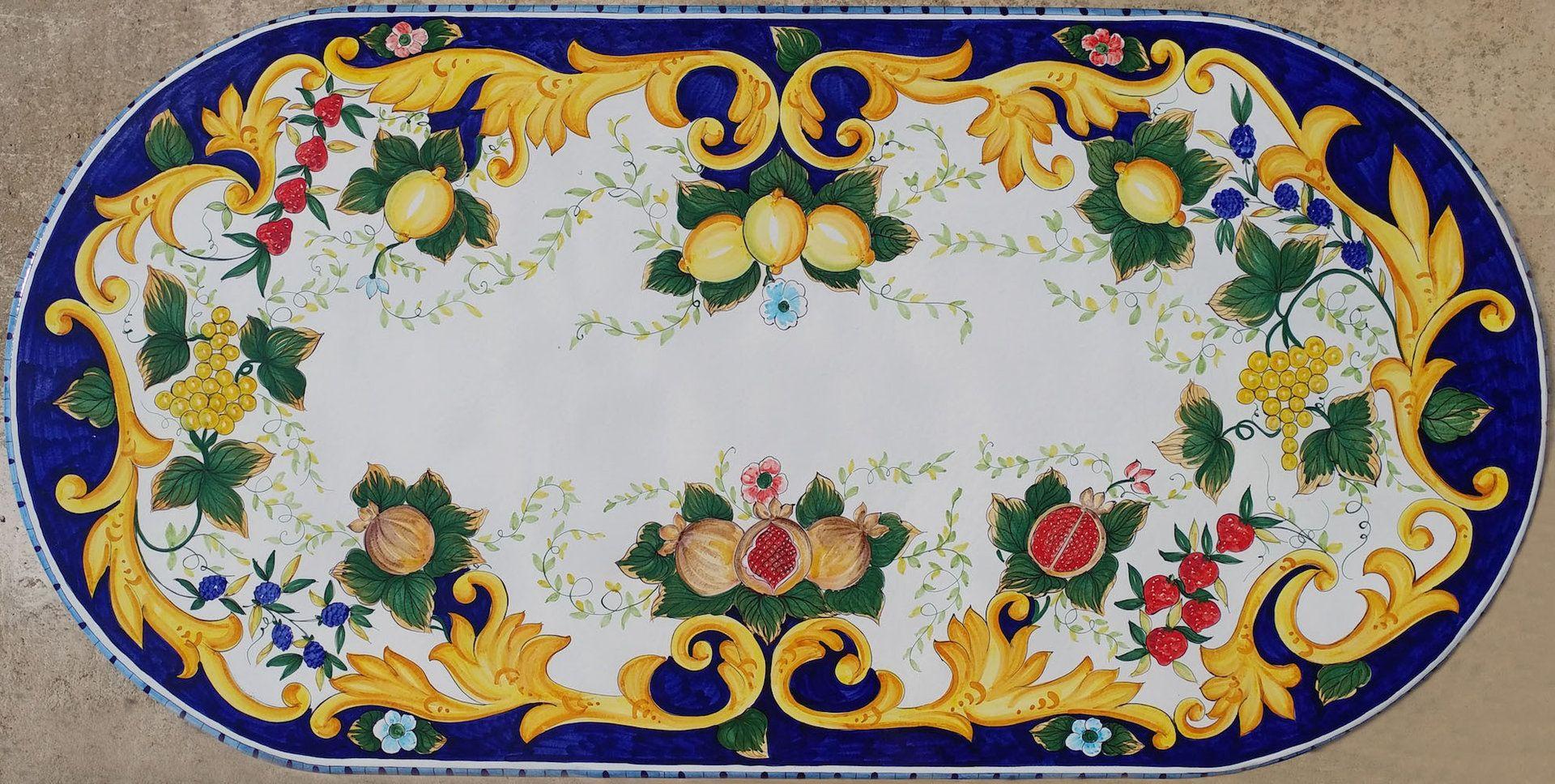 Tavolo Vietri ~ Piano per tavolo ovale frutta e barocco cm ceramiche di