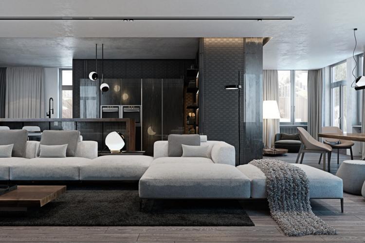 Laminat in Grau und Wandverkleidung mit Metall-Struktur im ...