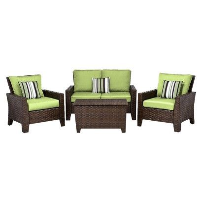 Target Belmont 4 Piece Brown Wicker Patio Thick Woven Conversation Furniture Set Image Zoom Outdoor Furniture Conversation Set Patio Furniture Sets