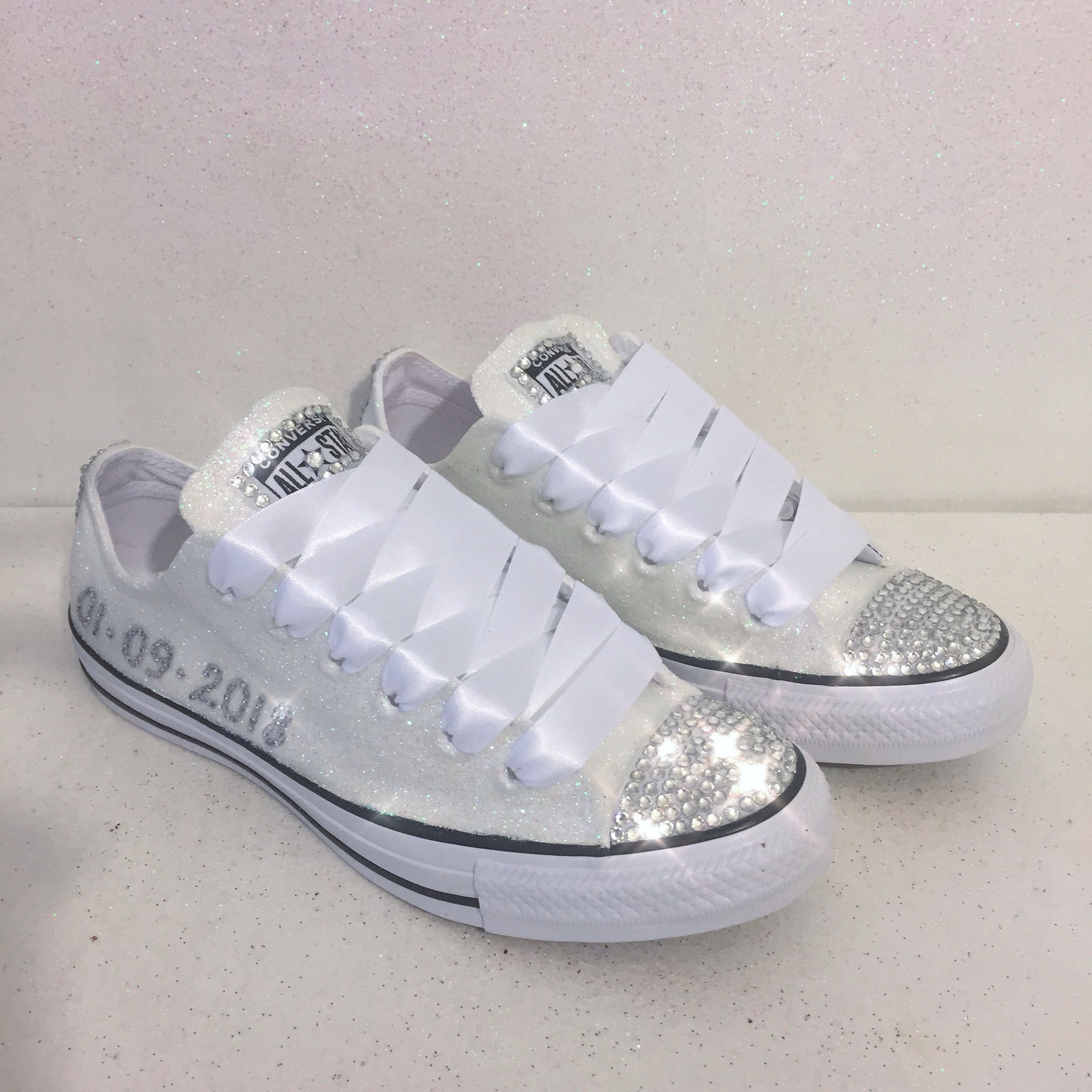 White or Ivory Sparkly Glitter Converse