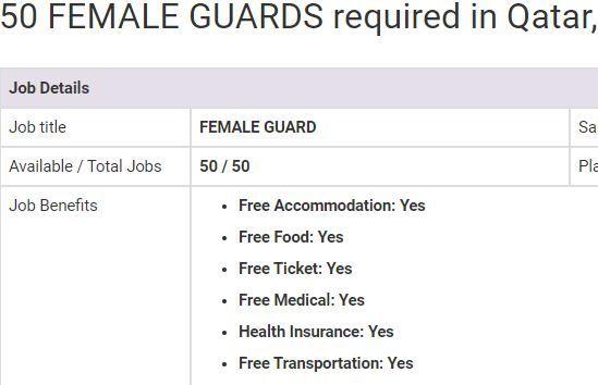 Female Guard Jobs In Qatar 2019 50 Vacancies Overseas Jobs