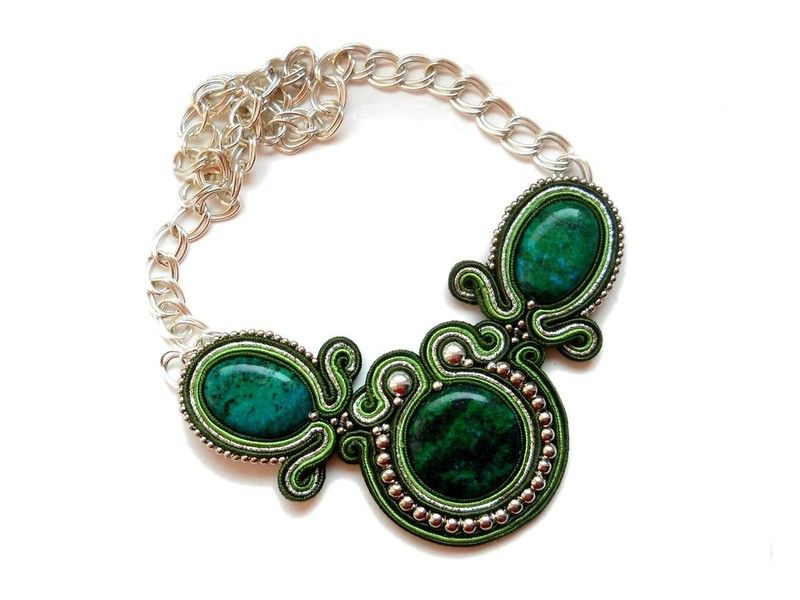 Emerald soutache statement necklace with inlaid chrysocolla