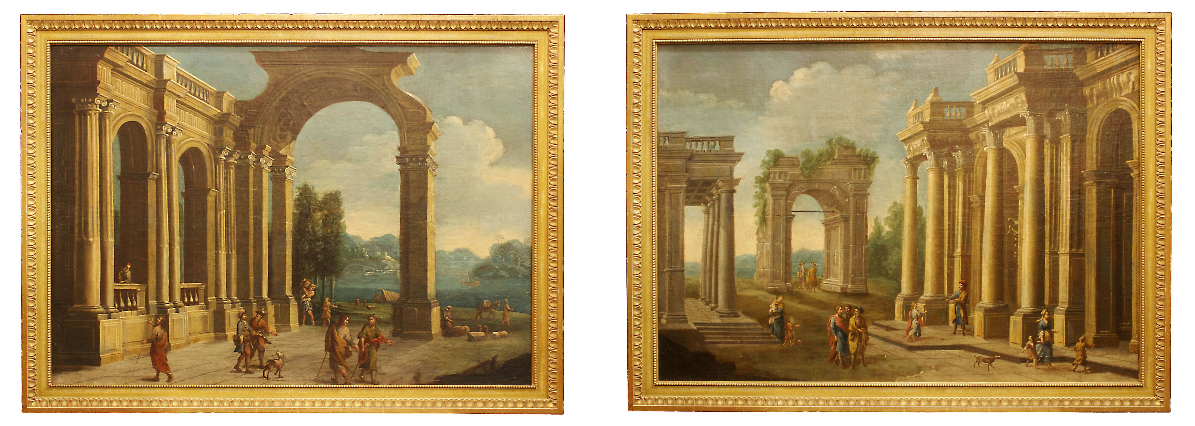A pair of magnificent Italian mid 18th century, oil on canvas, landscapes. Each painting with very rich and vibrant colors depicting figures among ruins. In lieu of a signature the artist has marked each painting with his fingerprint, a very unique concept.