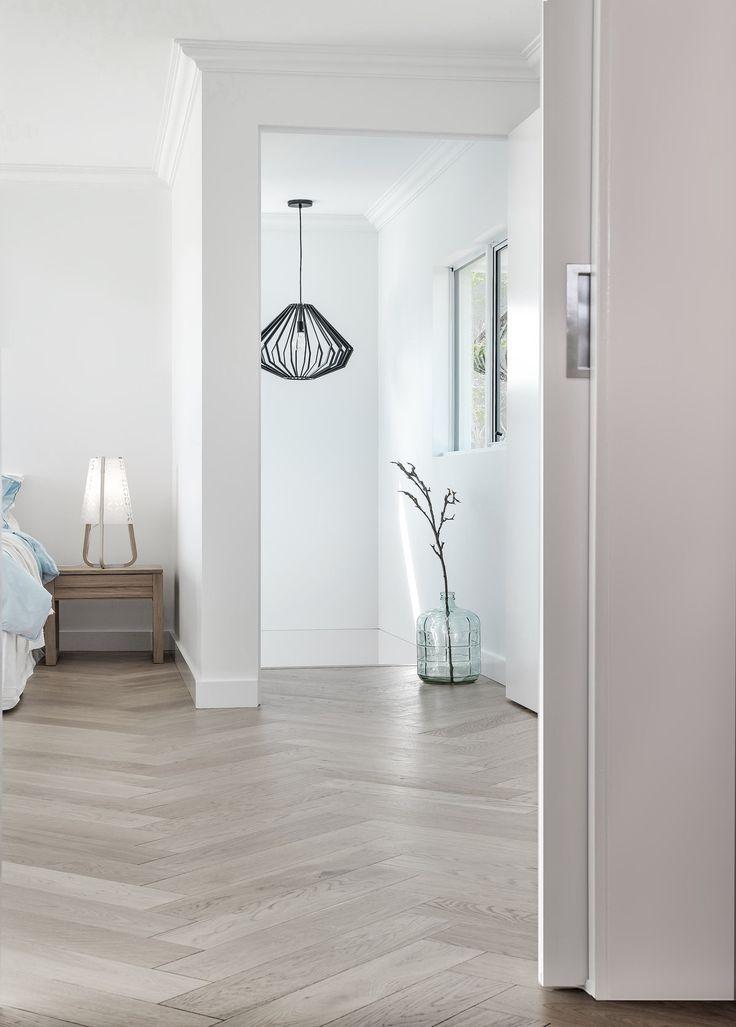 Pale Grey Parquet Wood Floor In A Bedroom White Oak Hardwood