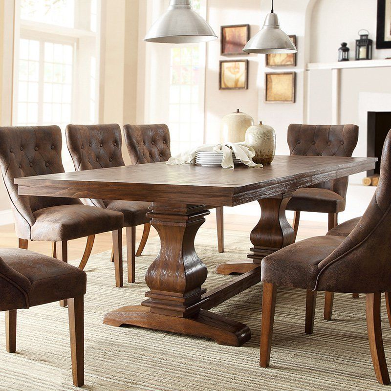 Perfect Weston Home Marie Louise Expandable Trestle Dining Table   Weathered Oak    From Hayneedle.com