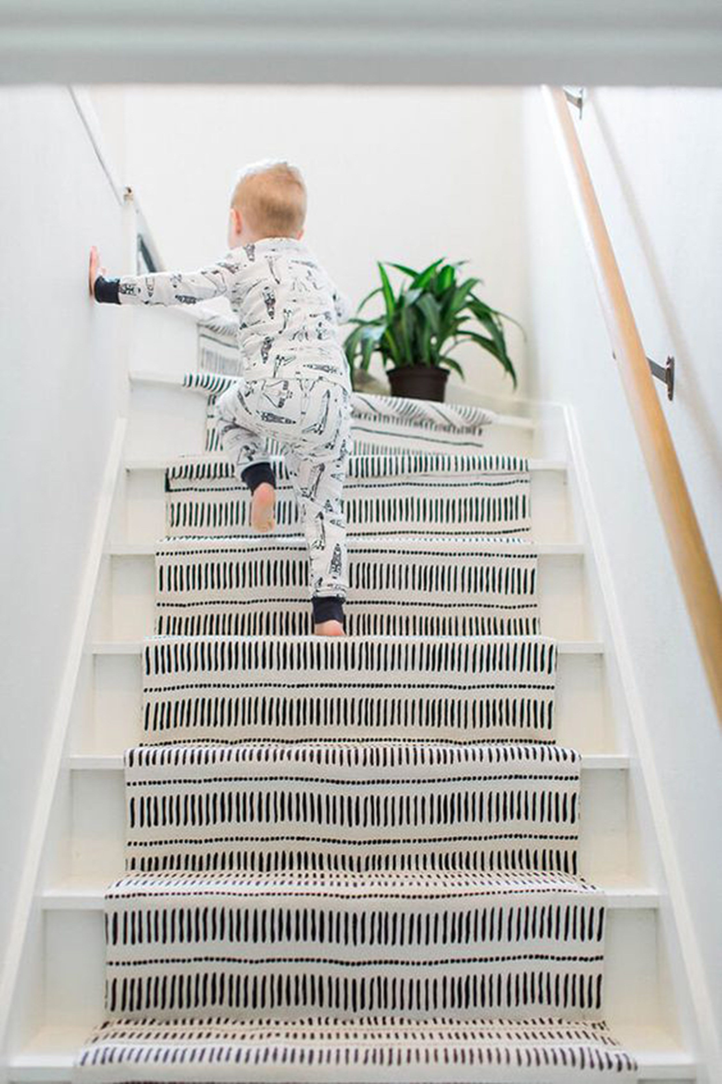 Should I Add A Carpet Or Rug Runner To My Mountain House Staircase Black And White Stairs Stairs Design Diy Staircase