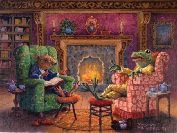 Ratty and Mr. Toad in Conversation - Art of Jonathan Wiltshire (oil)