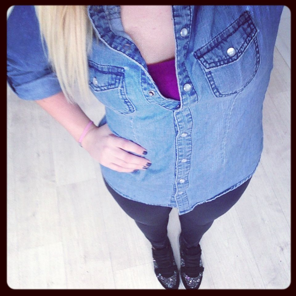 What I wore - 17th September 2013 Denim shirt - Topshop, matte leggings - Topshop, glitter sneakers - Carvela