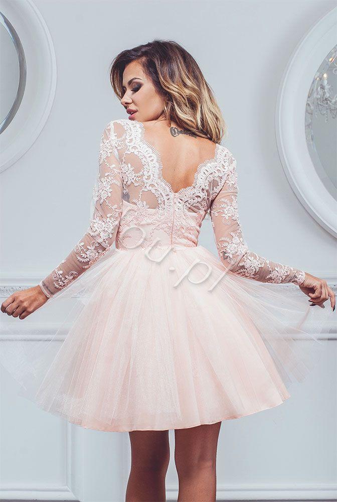 5b34f4bb Rozkloszowana sukienka z gorsetem pokrytym koronką. Z tyłu zapinana ...