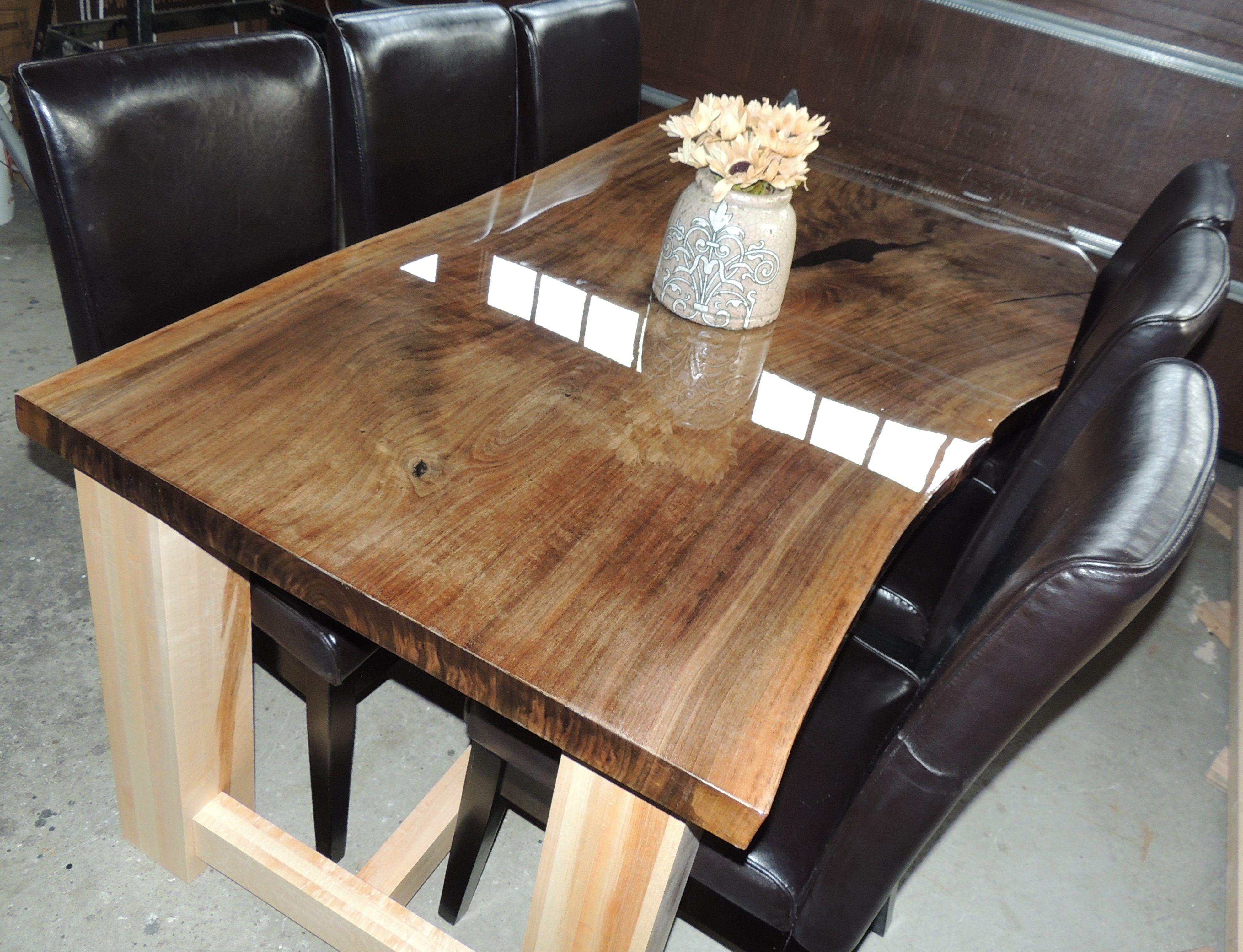 Black walnut live edge table with epoxy finish hunters for Finishing live edge wood