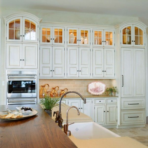 Upper Kitchen Cabinet Decorations: Arched Glass, Lit Upper Cabinets For Above The Fridge And