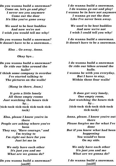 Left Do You Wanna Build A Snowman Lyrics From The Movie Anna Version Right Words That I Made Up Elsa Version Lyrics Song Quotes Lyric Pranks