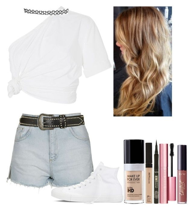 """""""Untitled #6202"""" by kimboloveniallhoran ❤ liked on Polyvore featuring Topshop, Rosie Assoulin, Converse, MAKE UP FOR EVER, Maybelline, tarte and Too Faced Cosmetics"""
