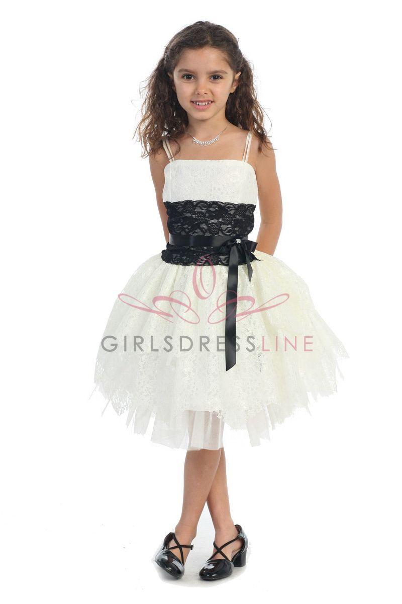 Ivory/Black Lace short Flower Girl Dress G3166IV $53.95 on www ...