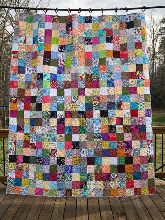Patchwork Scrappy Double Bed Quilt Reversible Quilt For Bed