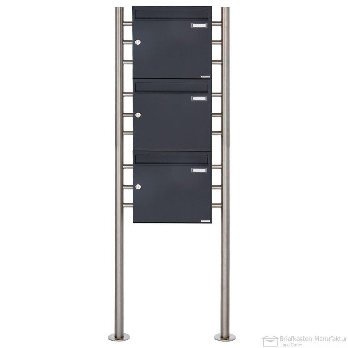 3er Briefkastenanlage freistehend senkrecht Design BASIC 381 K7016 Anthrazit Grau RAL 7016 wahlweise mit Regenschutzdach & Zeitungsfach