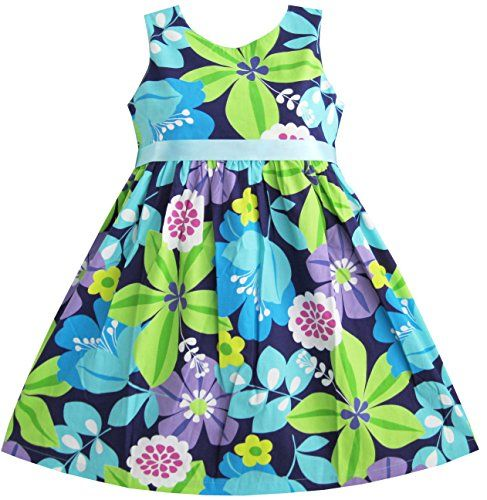 BK32 Sunny Fashion Girls Dress Blue Belt Flower Print Party Kids Sundress Size 45 -- Continue to the product at the image link.