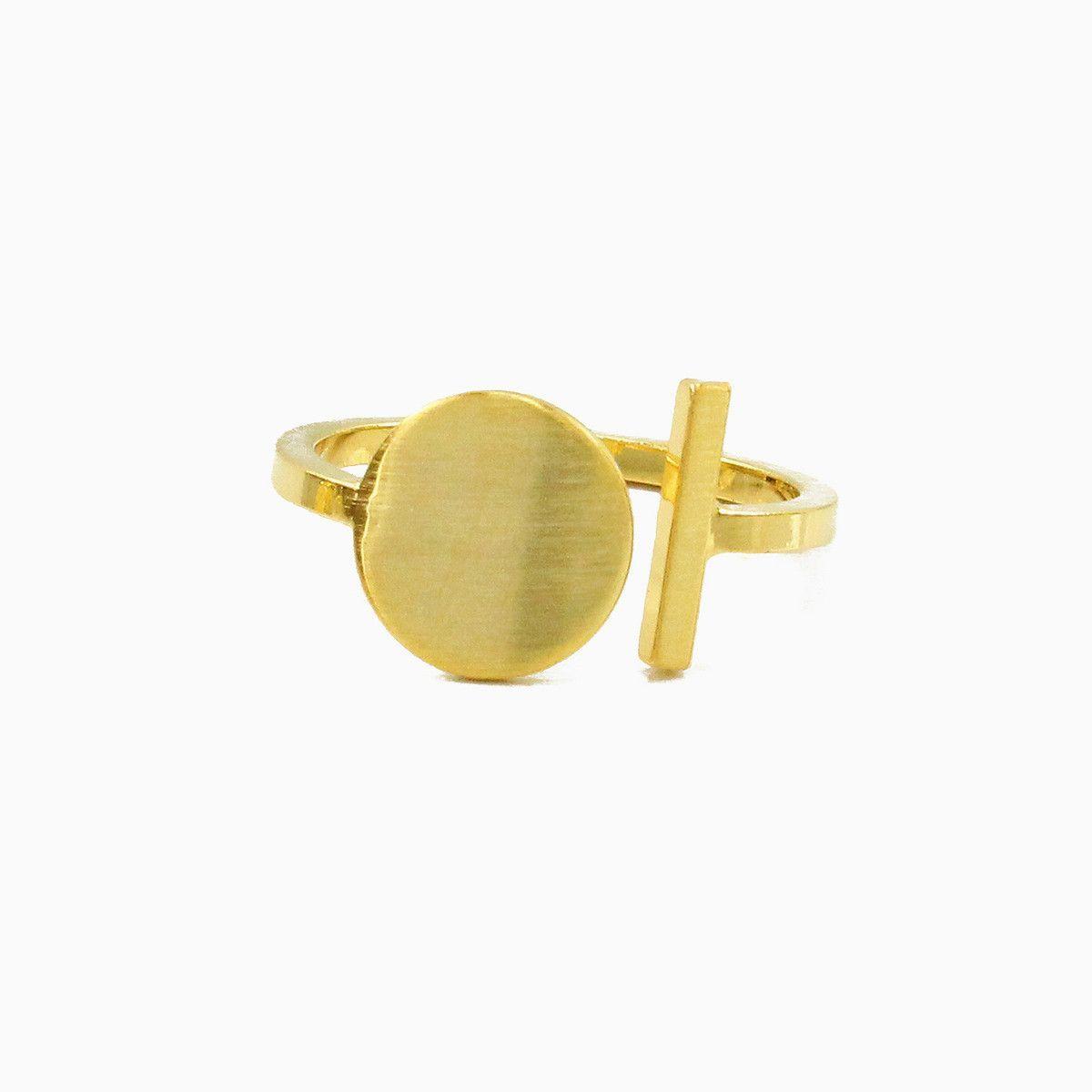 Gold Bar and Circle Open Ring