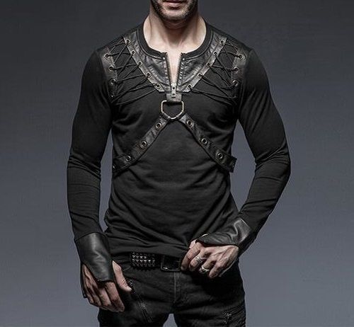 Men PUNK RAVE Long sleeves T-Shirt Blouse Shirts Black Gothic Steampunk Top Rock
