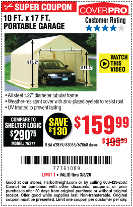 COVERPRO 10 Ft. X 17 Ft. Portable Garage for $159.99 ...