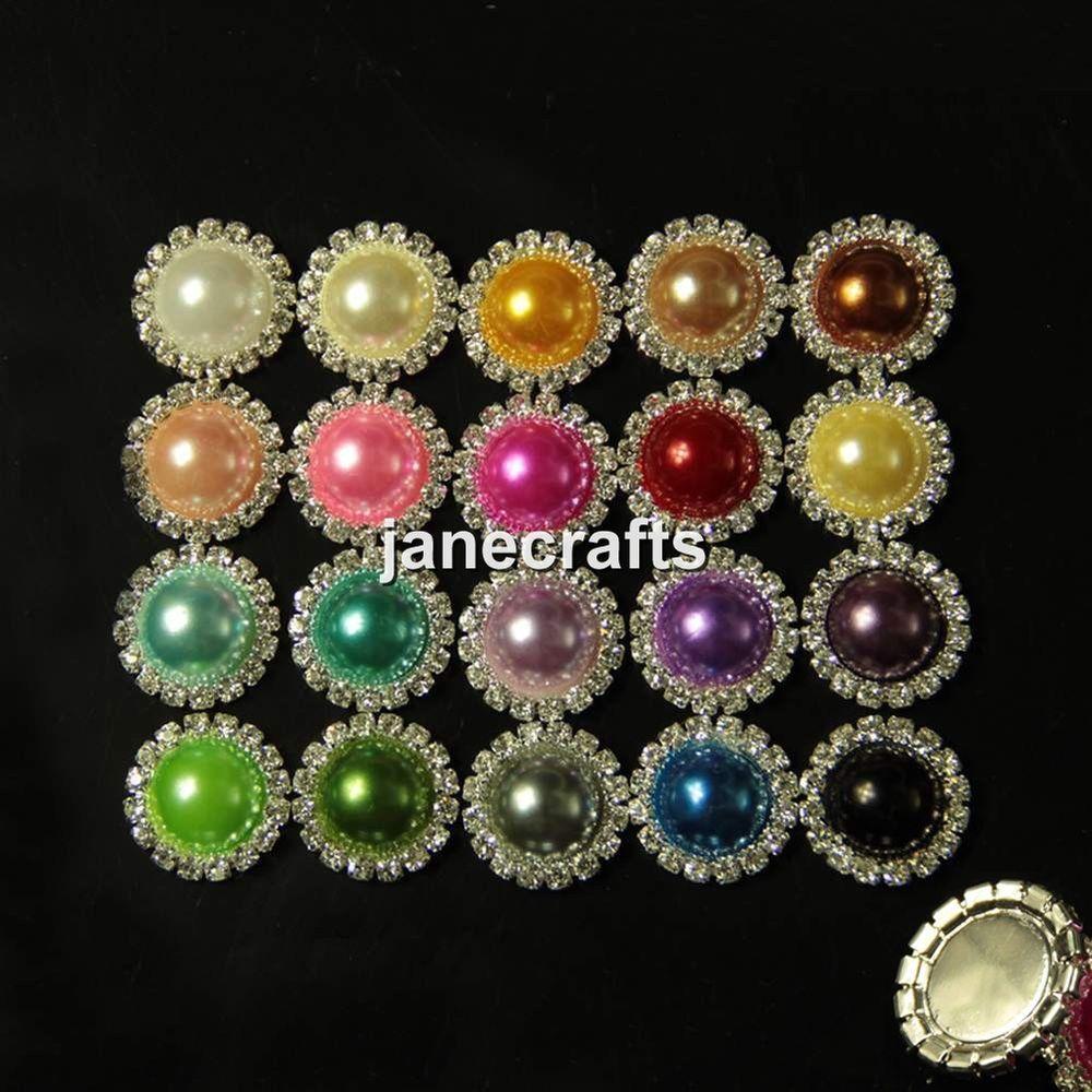 Hair bow button accessories - 50pcs 16mm 21mm Rhinestone Pearl Button Flatback Wedding Embellishment Hair Bow