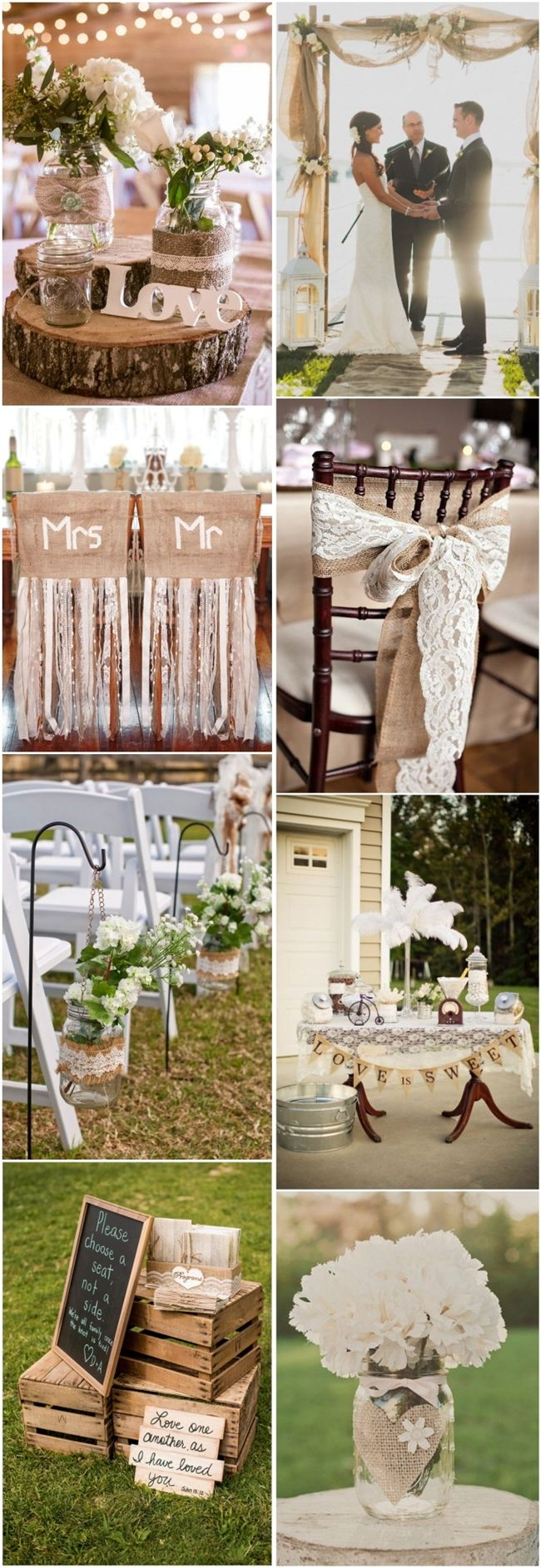 45 chic rustic burlap lace wedding ideas and inspiration for Country wedding reception decorations