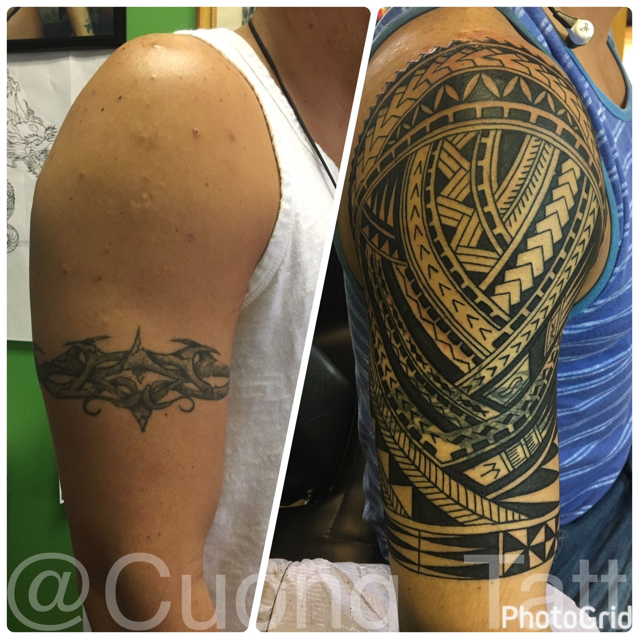 Polynesian Tribal Cover Up Halfsleeve Tattoo 1st Session Done Cover Up Schwarze Tattoos Schwarze Tattoos Tattoos