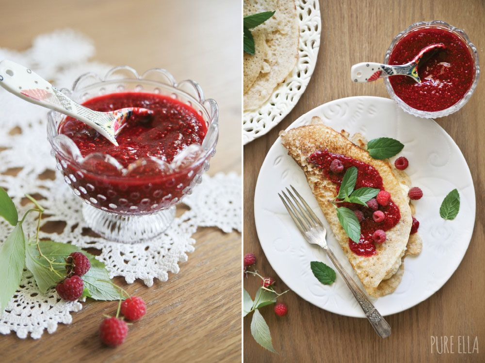 Gluten-free and vegan French Crêpes with Dairy-free Vanilla Cream Cheese and Raspberry Chia Jam