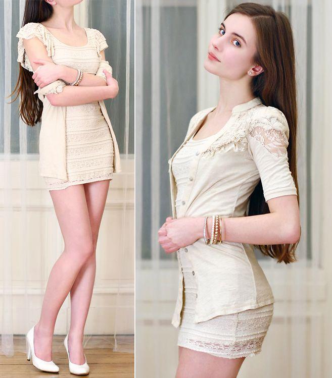 Ariadna Majewska - H&M Beige Lace Dress, Sradivarius Beige Lace ...