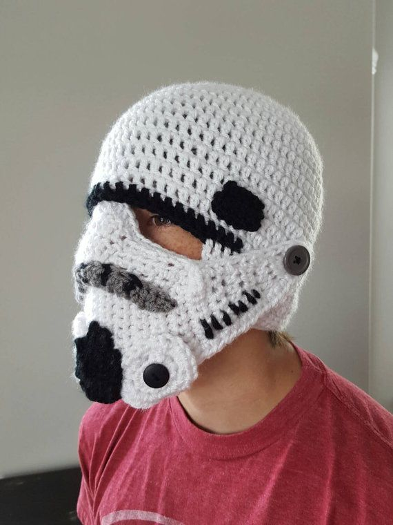 Storm Trooper Star Wars Helmet Hat Youth Boy Or By Honeysgoods Crochet Mens Hat Star Wars Crochet Crochet