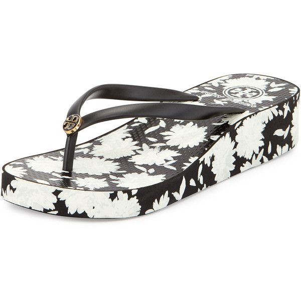 bd4821e29e1a3 Tory Burch Thandie Floral Print Wedge Flip Flop black orchard ( 109) ❤ liked