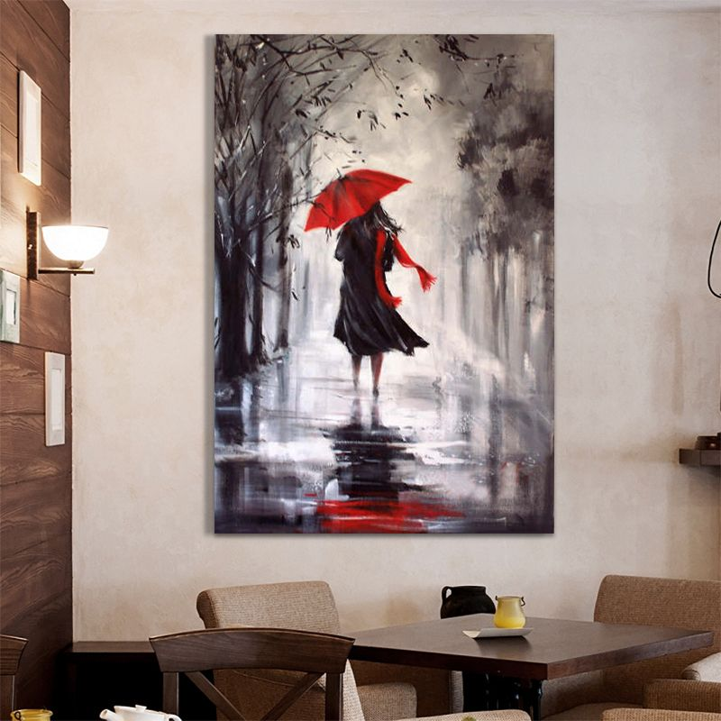 gros rainning jour peinture l 39 huile abstraite main. Black Bedroom Furniture Sets. Home Design Ideas