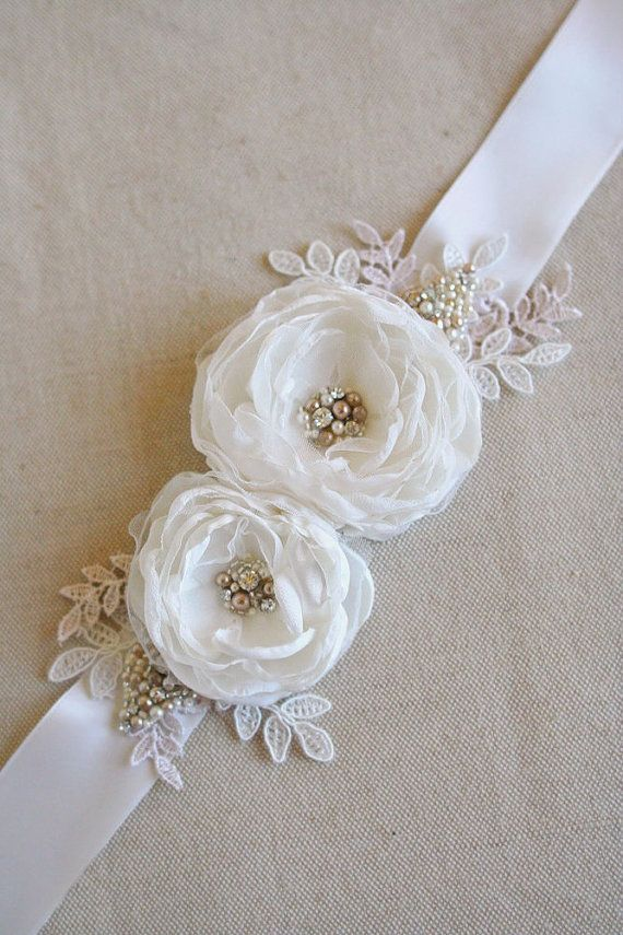 bridal flower sash wedding flower belt narrow ribbon dress