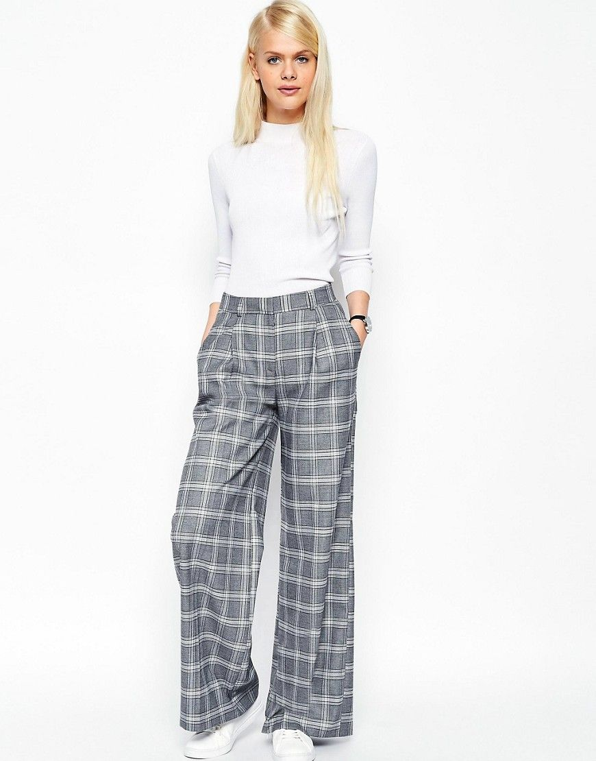 Image 1 of ASOS Relaxed Wide Leg Pant in Check Co-ord