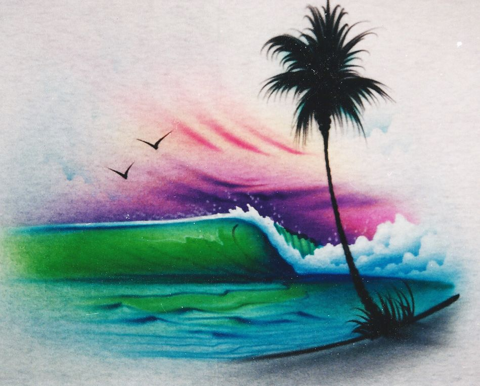 wave stencil design from Iwata by Rush Big Airbrush Designs in