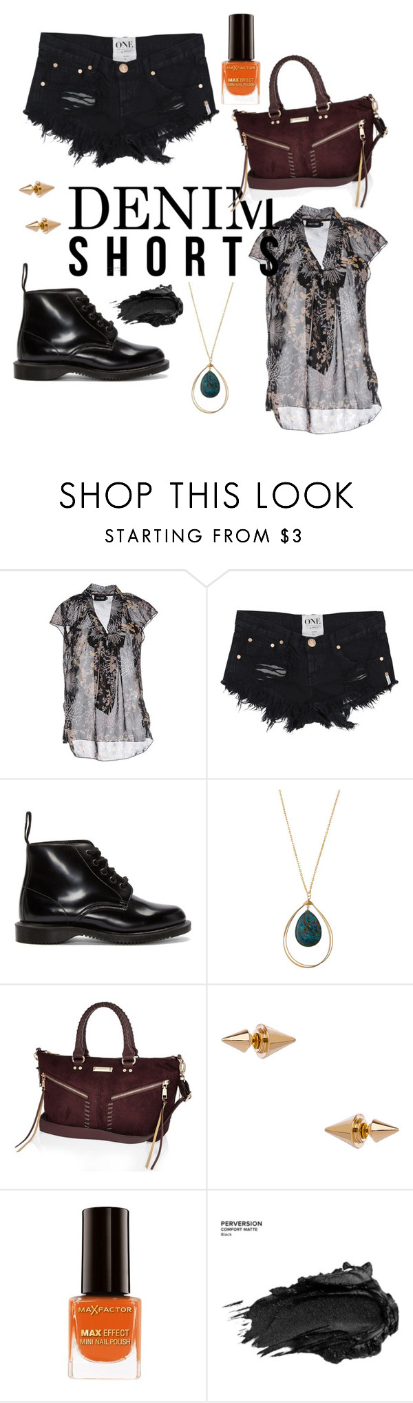 """Denim shorts"" by jessicamlrw ❤ liked on Polyvore featuring ONLY, Dr. Martens, Panacea, River Island, Blu Bijoux, Max Factor, Urban Decay, jeanshorts, denimshorts and cutoffs"