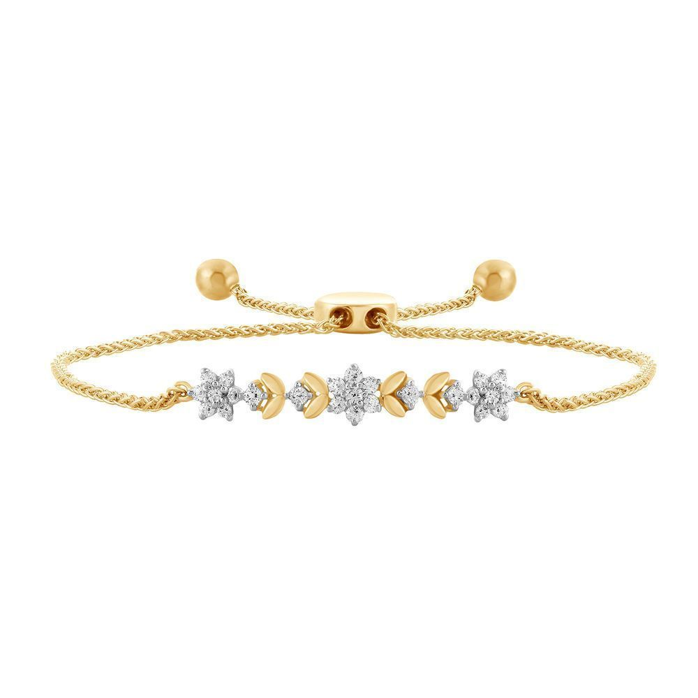 White diamond bracelet womens flower tennis link design k yellow