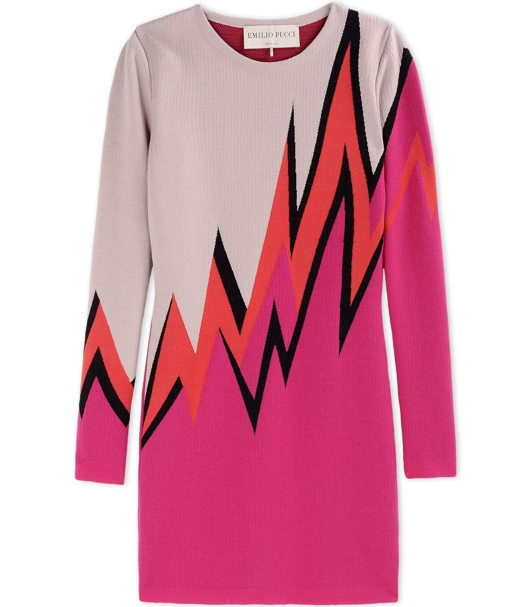 Emilio Pucci Pink Wool-Blend Color-Block Sweater Dress | Fashion ...