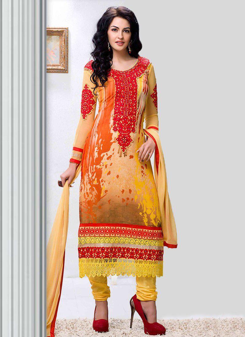Orange And Yellow Georgette Churidar Suit  ITEM CODE: 4790