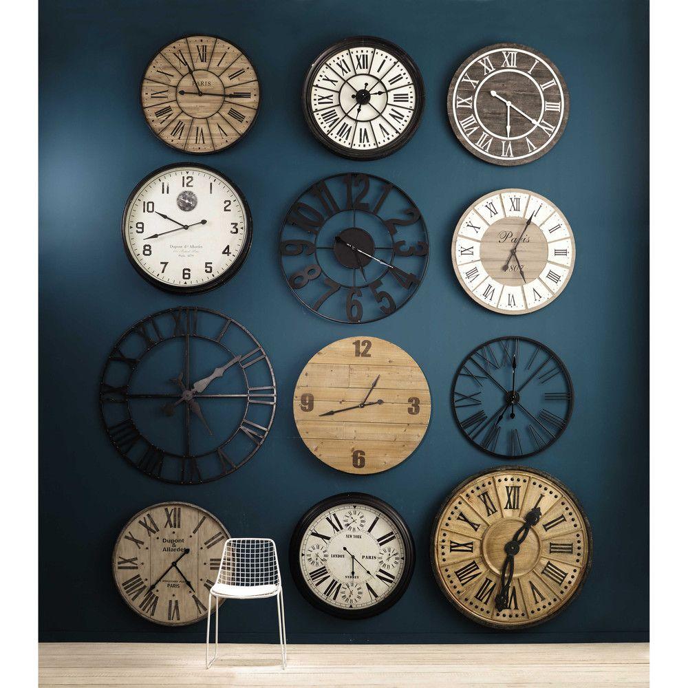 Reloj De Madera Y Metal Diam 90 Cm Valmy Maisons Du Monde Relojes De Pared Madera Y Metal Relojes De Madera