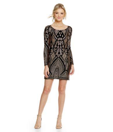 cdb6faf1705 Jump Long Sleeve Glitter Pattern Sheath Dress  Dillards