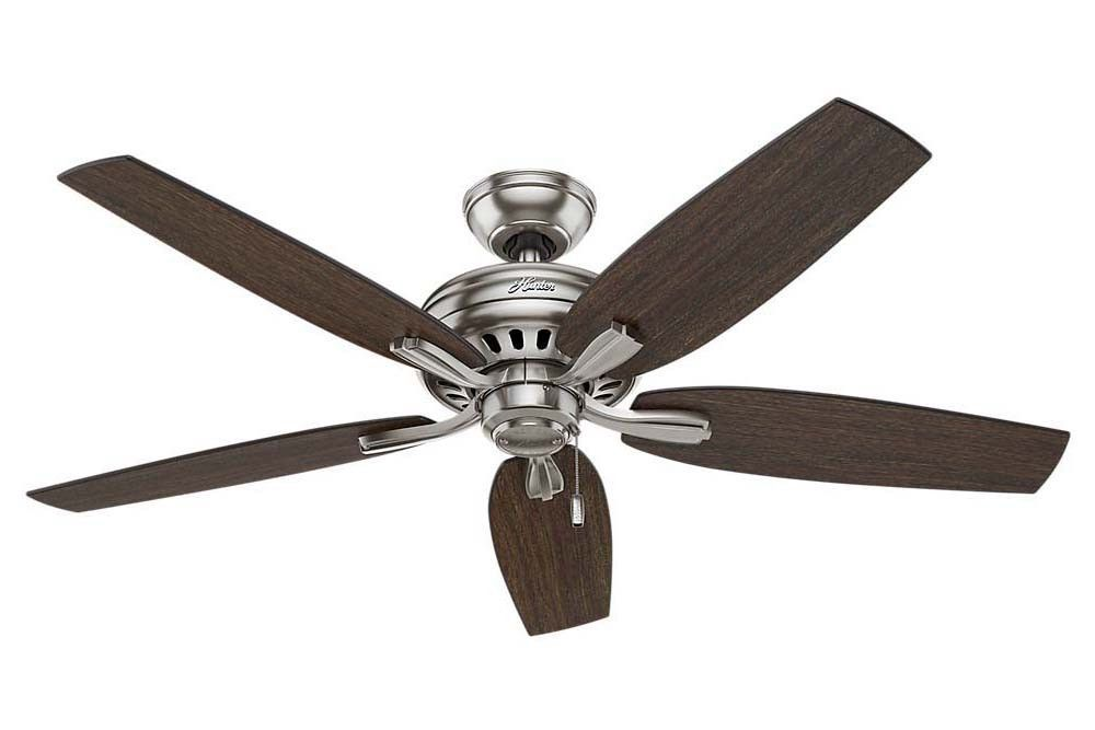 """Hunter Newsome Collection - 52"""" Ceiling Fan in Brushed Nickel No Light Kit"""