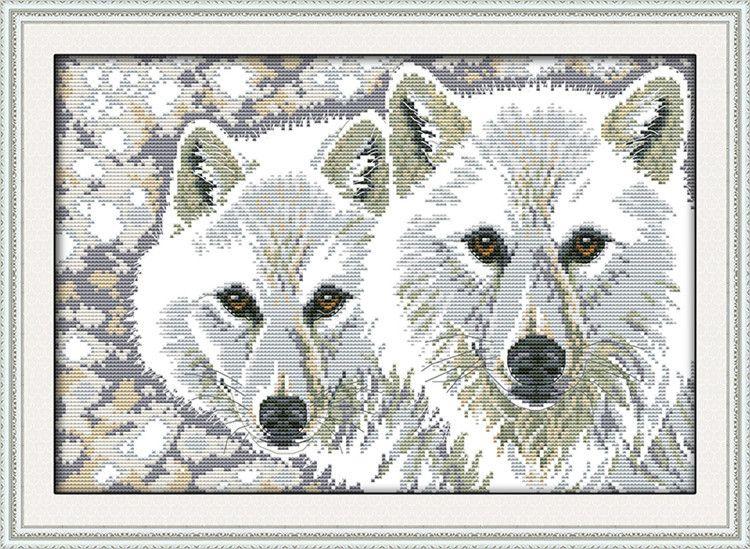 Costura-DIY-lobo-de-punto-de-cruz-kit-para-conjunto-bordado-lobo ...