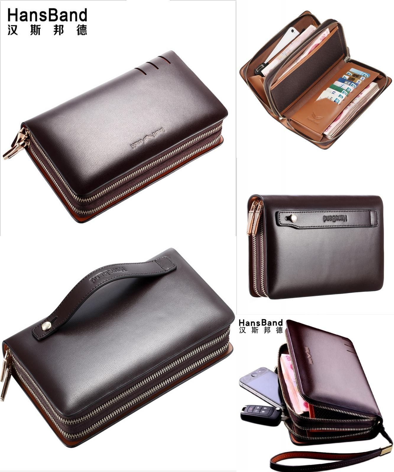 Fashion Long Wallet Genuine Leather Purse Handbags For Male Zipper Men Clutches