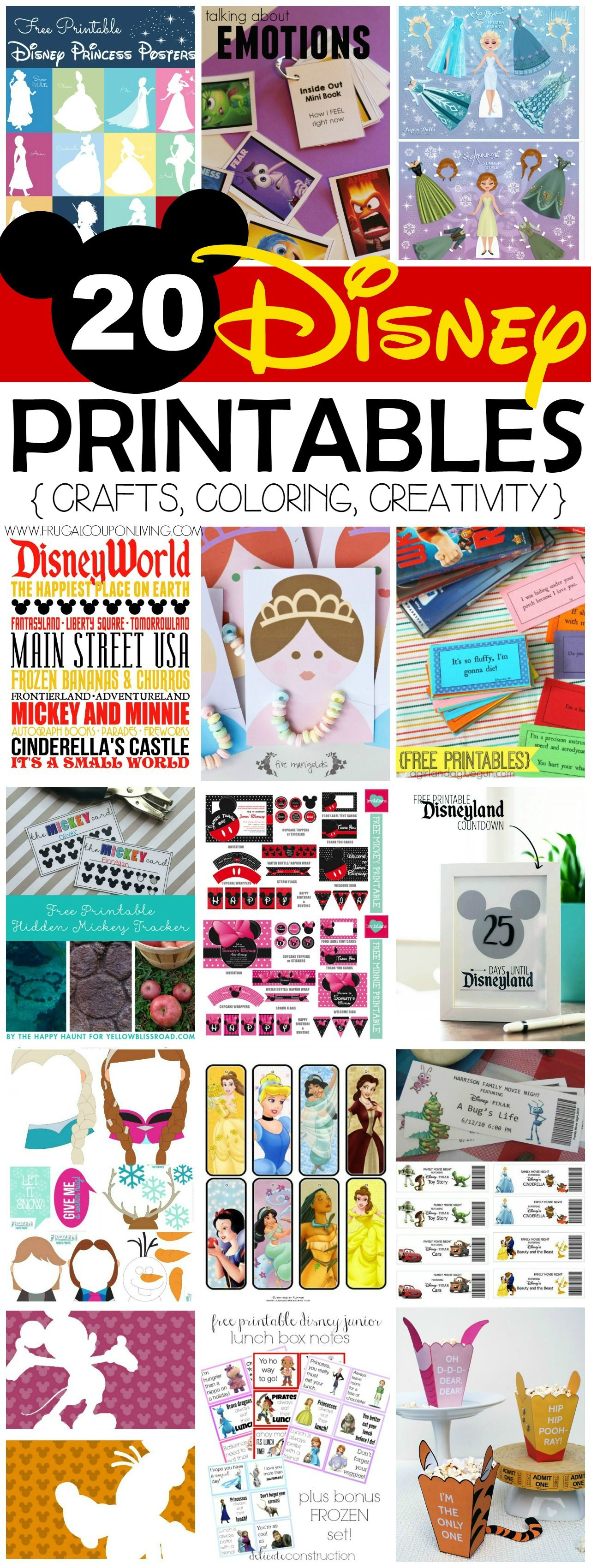20 Free Disney Printables Crafts Coloring Creativity Disney Printables Free Disney Scrapbook Disney Crafts