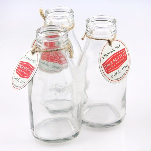3 Traditional School Milk Bottles Glass Milk Bottles Mini Milk Bottles Vintage Milk Bottles