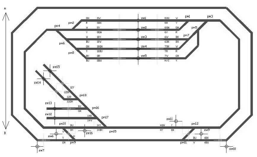 rr+train+track+wiring | : Track schematic showing point / turnout