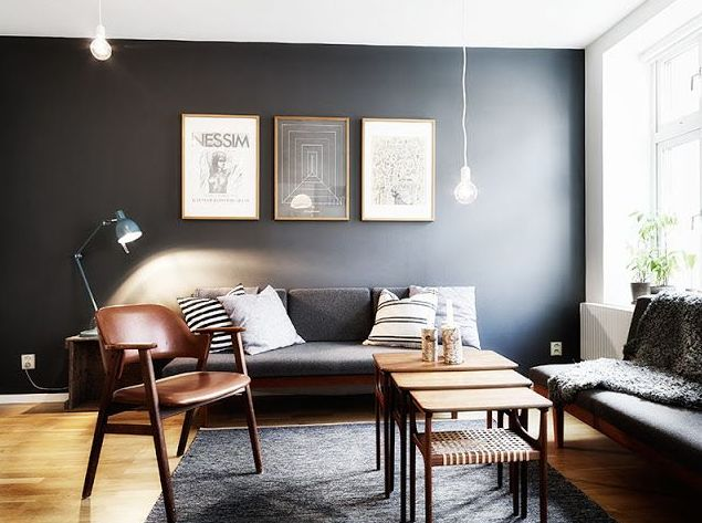 Black Walls Hue Luxe Creative Accent Walls In Living Room Living Room Grey House Interior