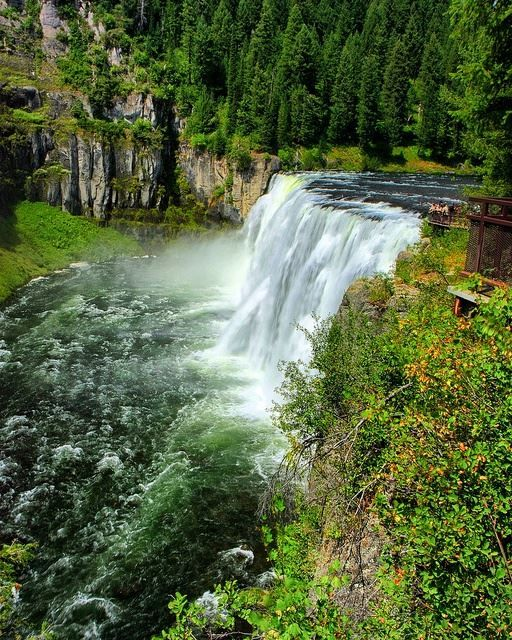 Upper Mesa Falls Idaho USA Is Roughly 114 Feet High And 200 Wide